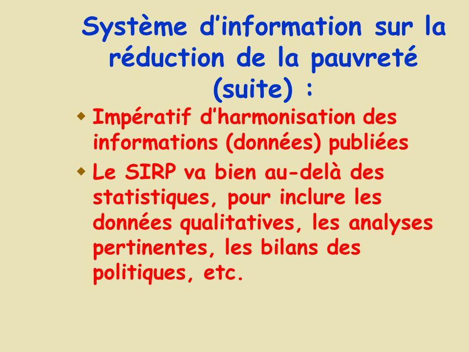 Système dinformation sur la réduction de la pauvreté (suite) : Impératif dharmonisation des informations (données) publiées Le SIRP va bien au-delà des statistiques, pour inclure les données qualitatives, les analyses pertinentes, les bilans des politiques, etc.