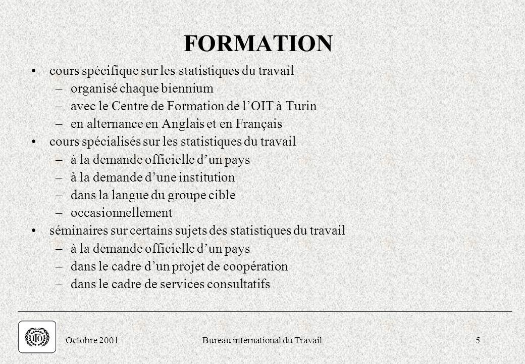 . Octobre 2001Bureau international du Travail5 FORMATION cours spécifique sur les statistiques du travail –organisé chaque biennium –avec le Centre de