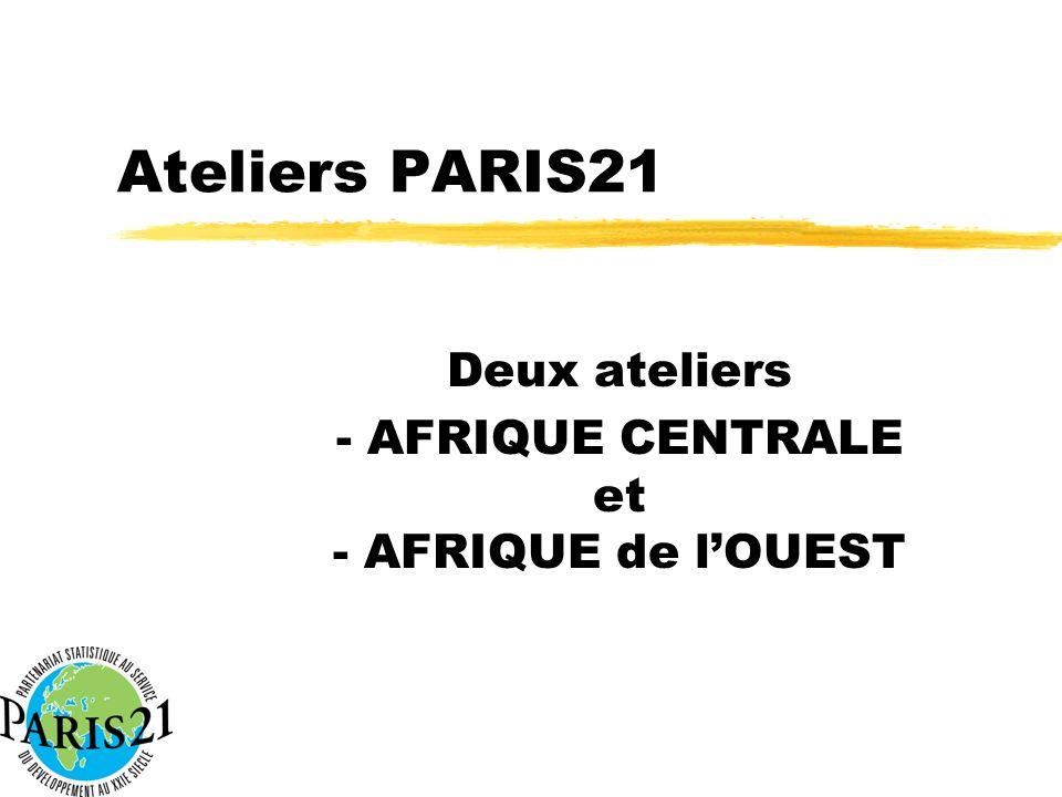 Ateliers PARIS21 Deux ateliers - AFRIQUE CENTRALE et - AFRIQUE de lOUEST