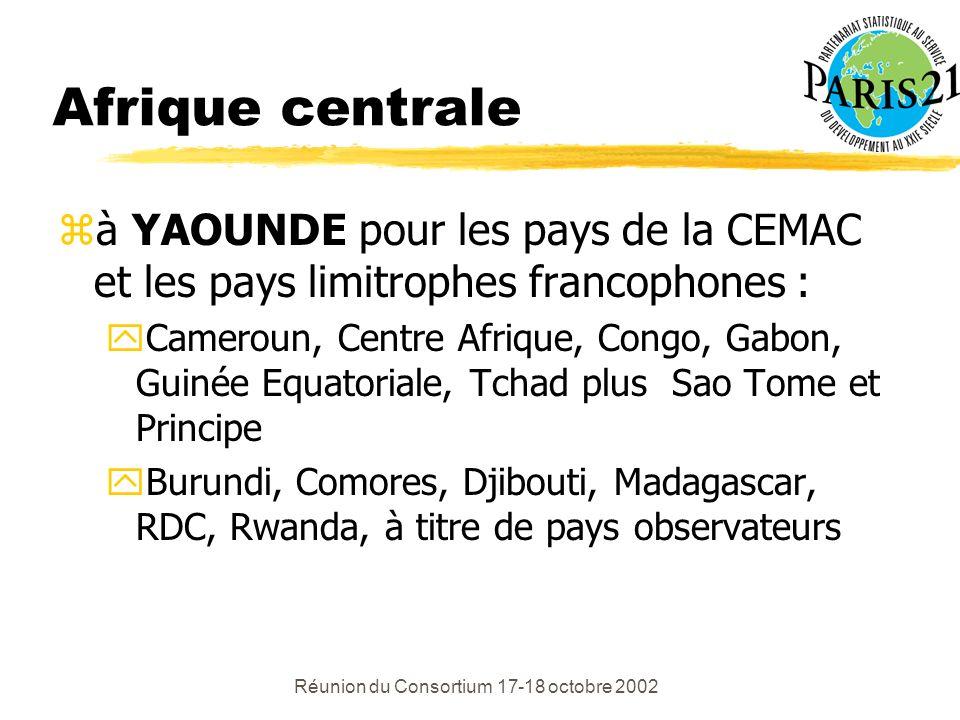 Réunion du Consortium 17-18 octobre 2002 Afrique centrale zà YAOUNDE pour les pays de la CEMAC et les pays limitrophes francophones : yCameroun, Centre Afrique, Congo, Gabon, Guinée Equatoriale, Tchad plus Sao Tome et Principe yBurundi, Comores, Djibouti, Madagascar, RDC, Rwanda, à titre de pays observateurs