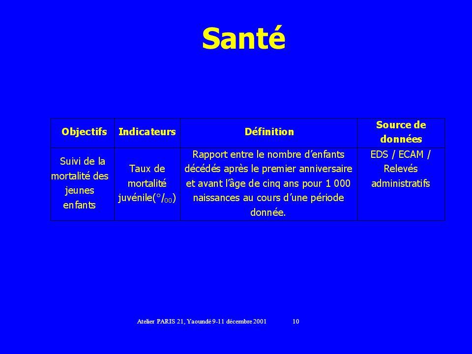 Santé Atelier PARIS 21, Yaoundé 9-11 décembre 2001 10