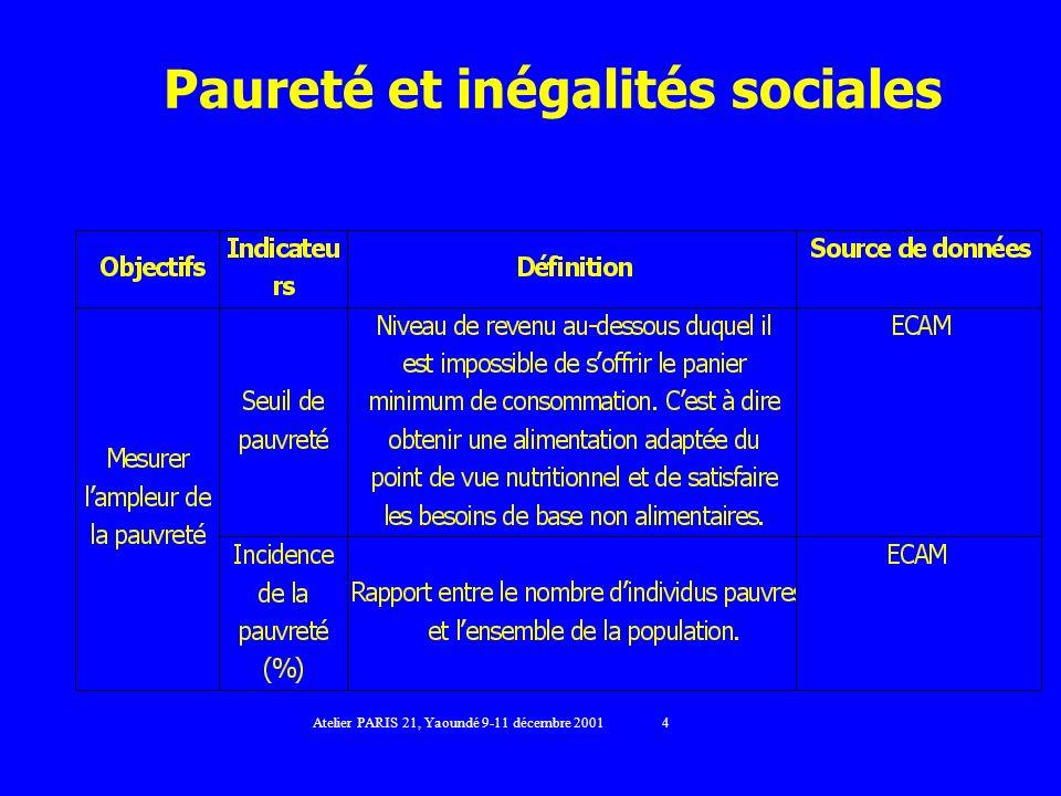 Paureté et inégalités sociales Atelier PARIS 21, Yaoundé 9-11 décembre 2001 4