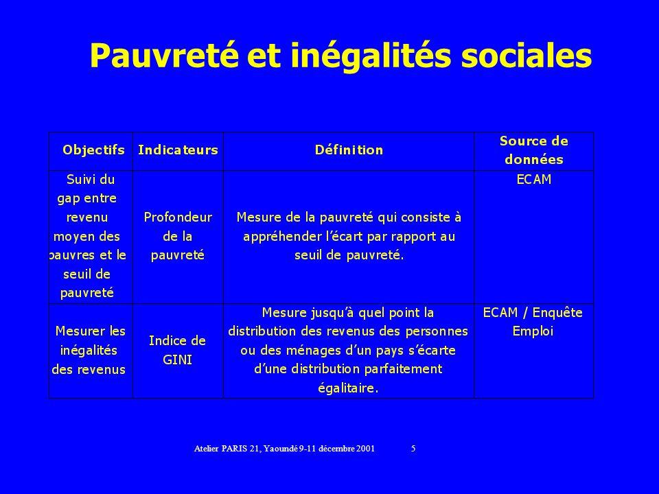 Pauvreté et inégalités sociales Atelier PARIS 21, Yaoundé 9-11 décembre 2001 5