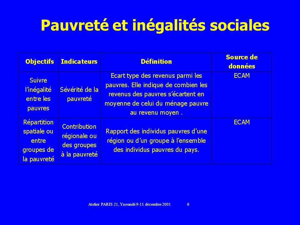 Pauvreté et inégalités sociales Atelier PARIS 21, Yaoundé 9-11 décembre 2001 6