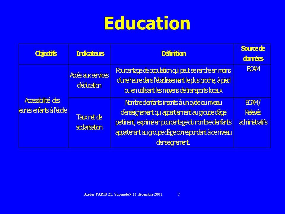 Education Atelier PARIS 21, Yaoundé 9-11 décembre 2001 7