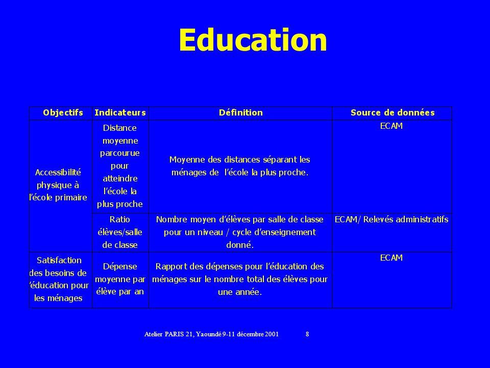 Education Atelier PARIS 21, Yaoundé 9-11 décembre 2001 8