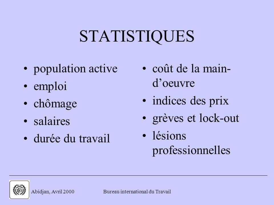 . Abidjan, Avril 2000Bureau international du Travail STATISTIQUES population active emploi chômage salaires durée du travail coût de la main- doeuvre indices des prix grèves et lock-out lésions professionnelles