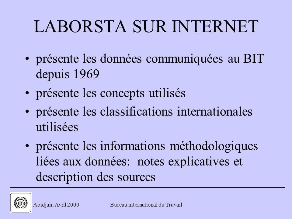 . Abidjan, Avril 2000Bureau international du Travail LABORSTA SUR INTERNET présente les données communiquées au BIT depuis 1969 présente les concepts