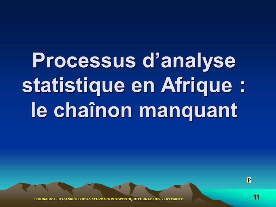 SEMINAIRE SUR LANALYSE DE LINFORMATION STATISTIQUE POUR LE DEVELOPPEMENT 11 Processus danalyse statistique en Afrique : le chaînon manquant