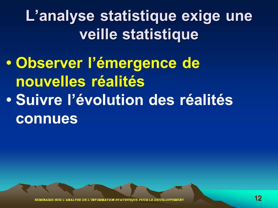 SEMINAIRE SUR LANALYSE DE LINFORMATION STATISTIQUE POUR LE DEVELOPPEMENT 12 Lanalyse statistique exige une veille statistique Observer lémergence de n