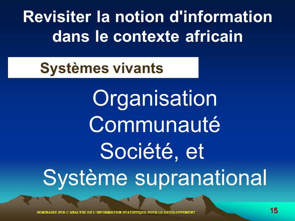 SEMINAIRE SUR LANALYSE DE LINFORMATION STATISTIQUE POUR LE DEVELOPPEMENT 15 Revisiter la notion d'information dans le contexte africain Systèmes vivan