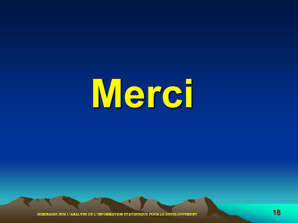 SEMINAIRE SUR LANALYSE DE LINFORMATION STATISTIQUE POUR LE DEVELOPPEMENT 18 Merci