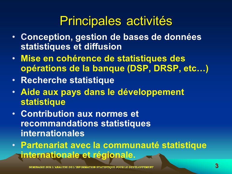 SEMINAIRE SUR LANALYSE DE LINFORMATION STATISTIQUE POUR LE DEVELOPPEMENT 3 Principales activités Conception, gestion de bases de données statistiques