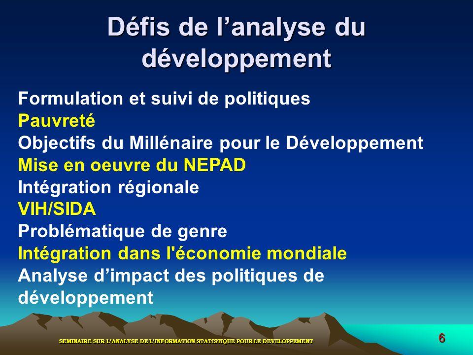 SEMINAIRE SUR LANALYSE DE LINFORMATION STATISTIQUE POUR LE DEVELOPPEMENT 6 Défis de lanalyse du développement Formulation et suivi de politiques Pauvr