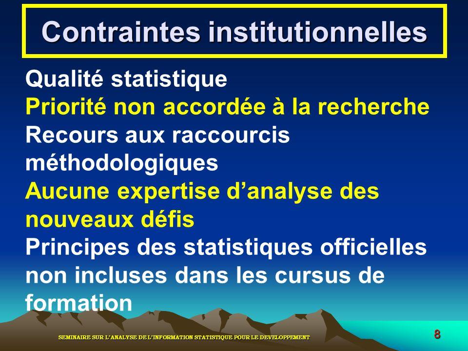 SEMINAIRE SUR LANALYSE DE LINFORMATION STATISTIQUE POUR LE DEVELOPPEMENT 8 Contraintes institutionnelles Qualité statistique Priorité non accordée à l
