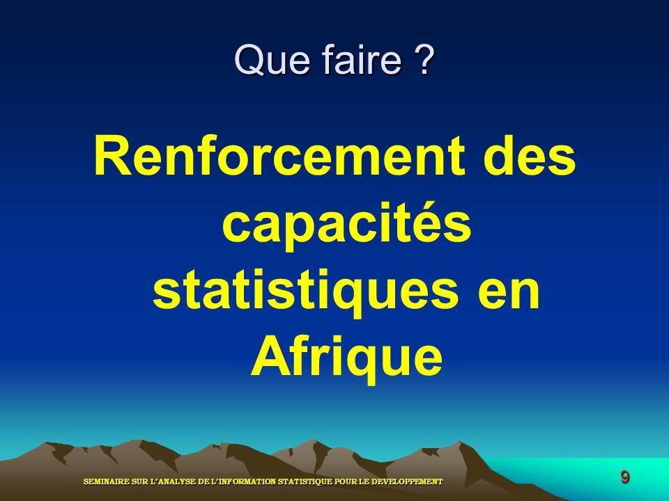 SEMINAIRE SUR LANALYSE DE LINFORMATION STATISTIQUE POUR LE DEVELOPPEMENT 9 Que faire ? Renforcement des capacités statistiques en Afrique