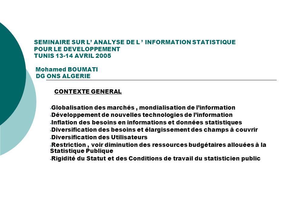 SEMINAIRE SUR L ANALYSE DE L INFORMATION STATISTIQUE POUR LE DEVELOPPEMENT TUNIS 13-14 AVRIL 2005 Mohamed BOUMATI DG ONS ALGERIE CONTEXTE GENERAL - Gl