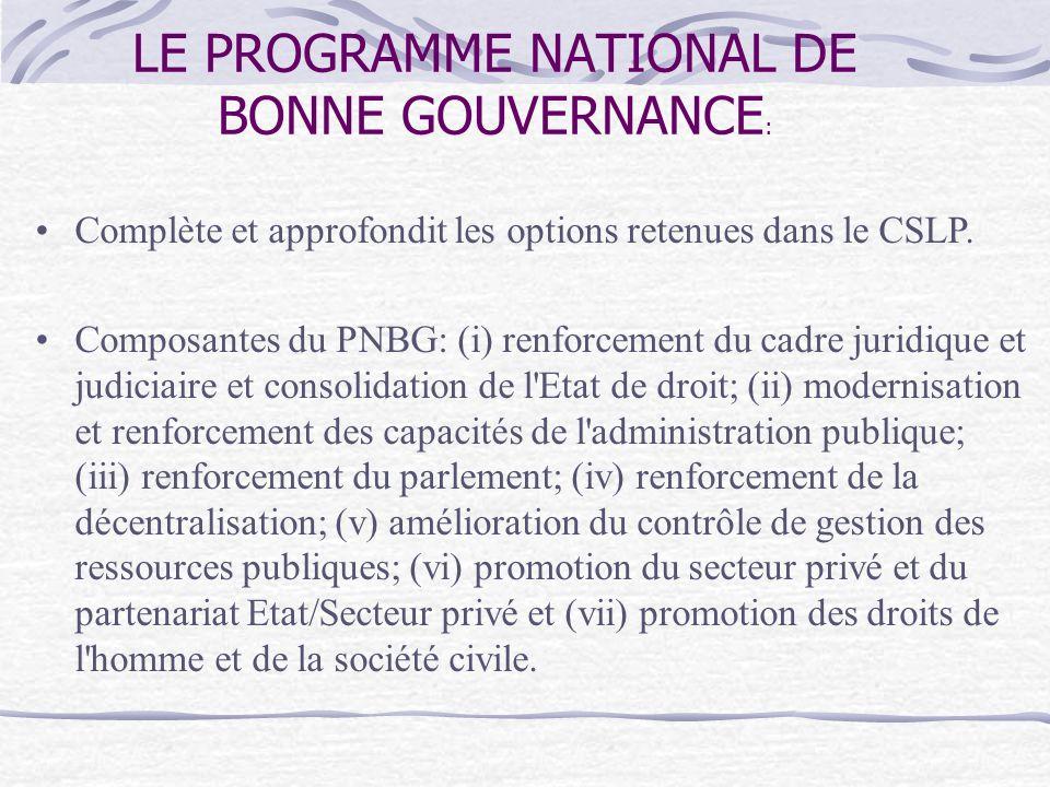 LE PROGRAMME NATIONAL DE BONNE GOUVERNANCE : Complète et approfondit les options retenues dans le CSLP.