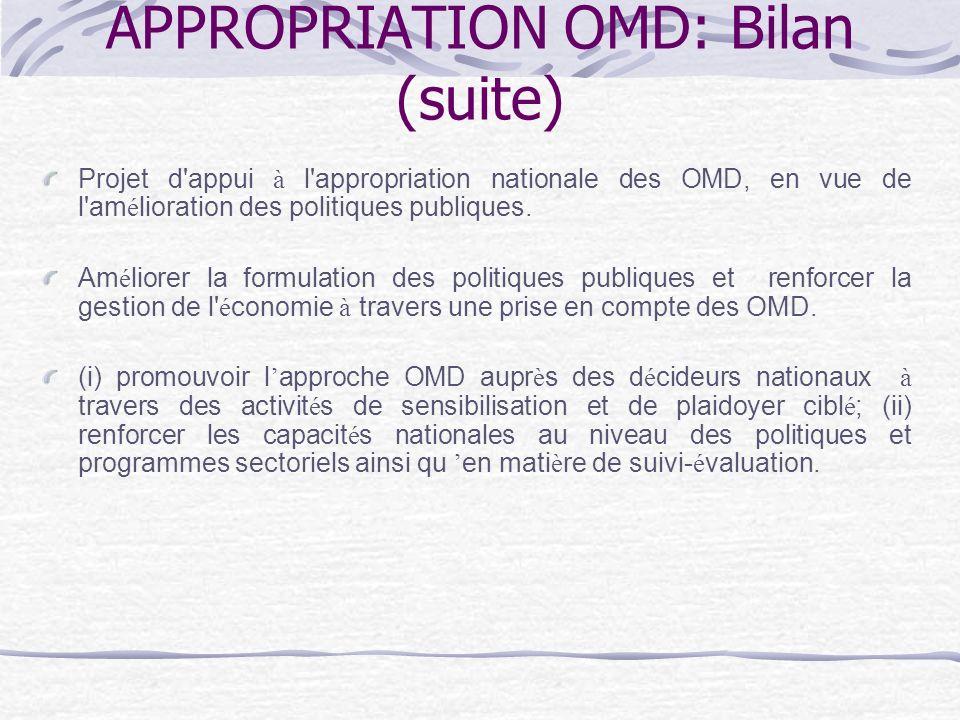 APPROPRIATION OMD: Bilan (suite) Projet d appui à l appropriation nationale des OMD, en vue de l am é lioration des politiques publiques.