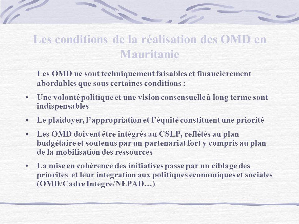 Les conditions de la réalisation des OMD en Mauritanie Les OMD ne sont techniquement faisables et financièrement abordables que sous certaines conditions : Une volonté politique et une vision consensuelle à long terme sont indispensables Le plaidoyer, lappropriation et léquité constituent une priorité Les OMD doivent être intégrés au CSLP, reflétés au plan budgétaire et soutenus par un partenariat fort y compris au plan de la mobilisation des ressources La mise en cohérence des initiatives passe par un ciblage des priorités et leur intégration aux politiques économiques et sociales (OMD/Cadre Intégré/NEPAD…)