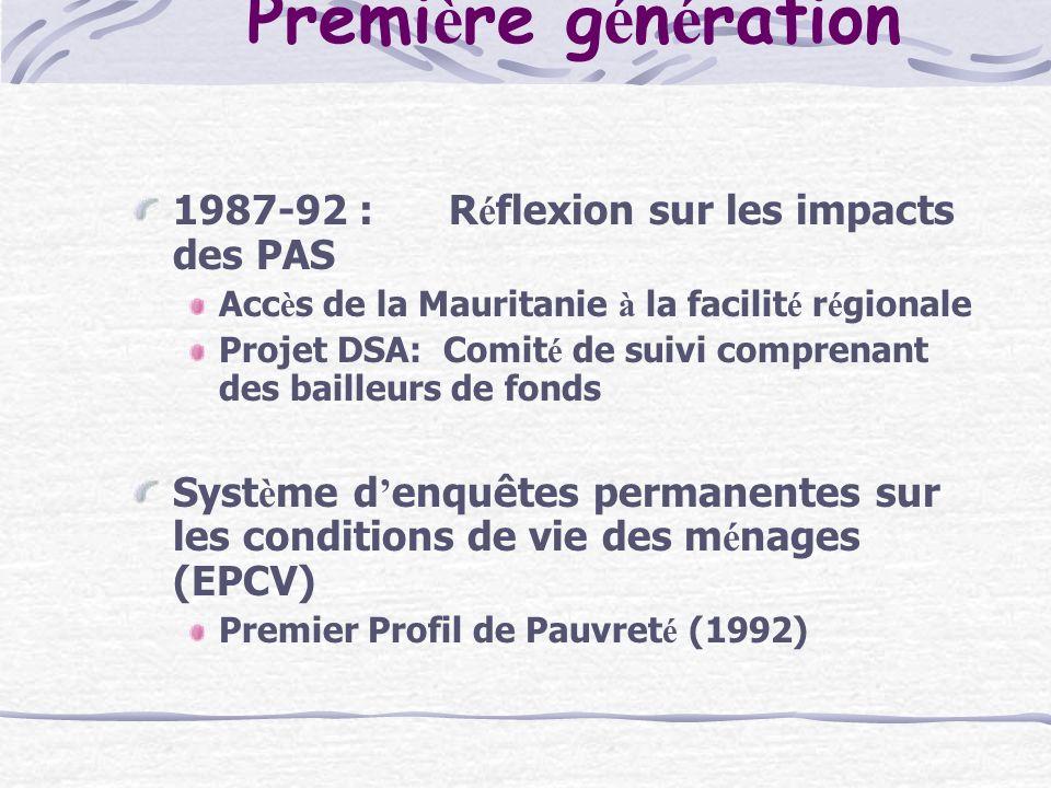 Premi è re g é n é ration 1987-92 :R é flexion sur les impacts des PAS Acc è s de la Mauritanie à la facilit é r é gionale Projet DSA: Comit é de suivi comprenant des bailleurs de fonds Syst è me d enquêtes permanentes sur les conditions de vie des m é nages (EPCV) Premier Profil de Pauvret é (1992)