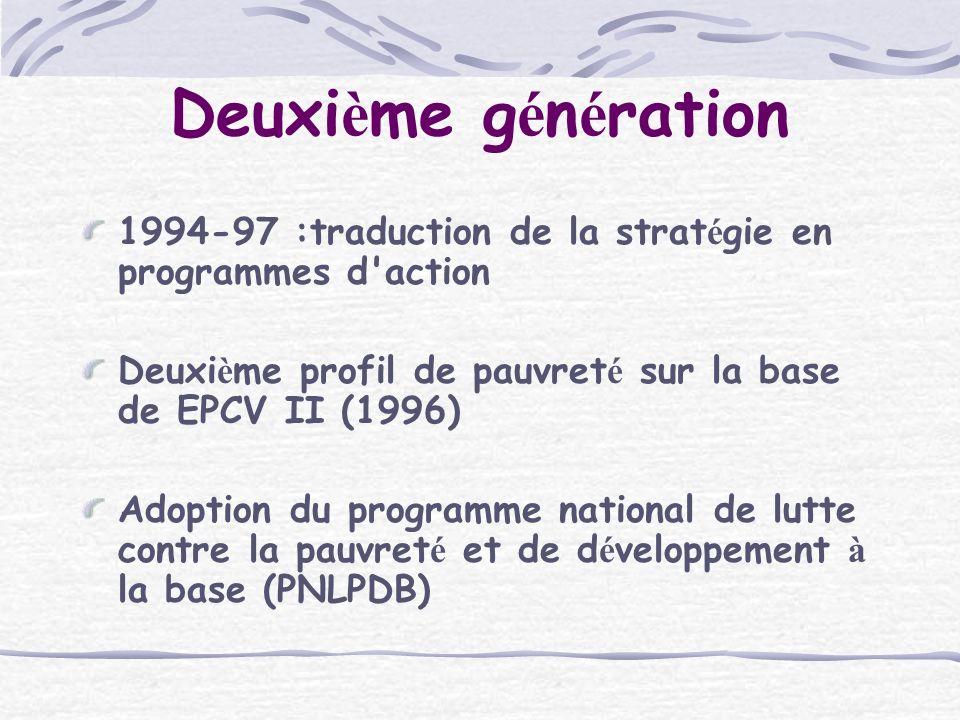Deuxi è me g é n é ration 1994-97 :traduction de la strat é gie en programmes d action Deuxi è me profil de pauvret é sur la base de EPCV II (1996) Adoption du programme national de lutte contre la pauvret é et de d é veloppement à la base (PNLPDB)