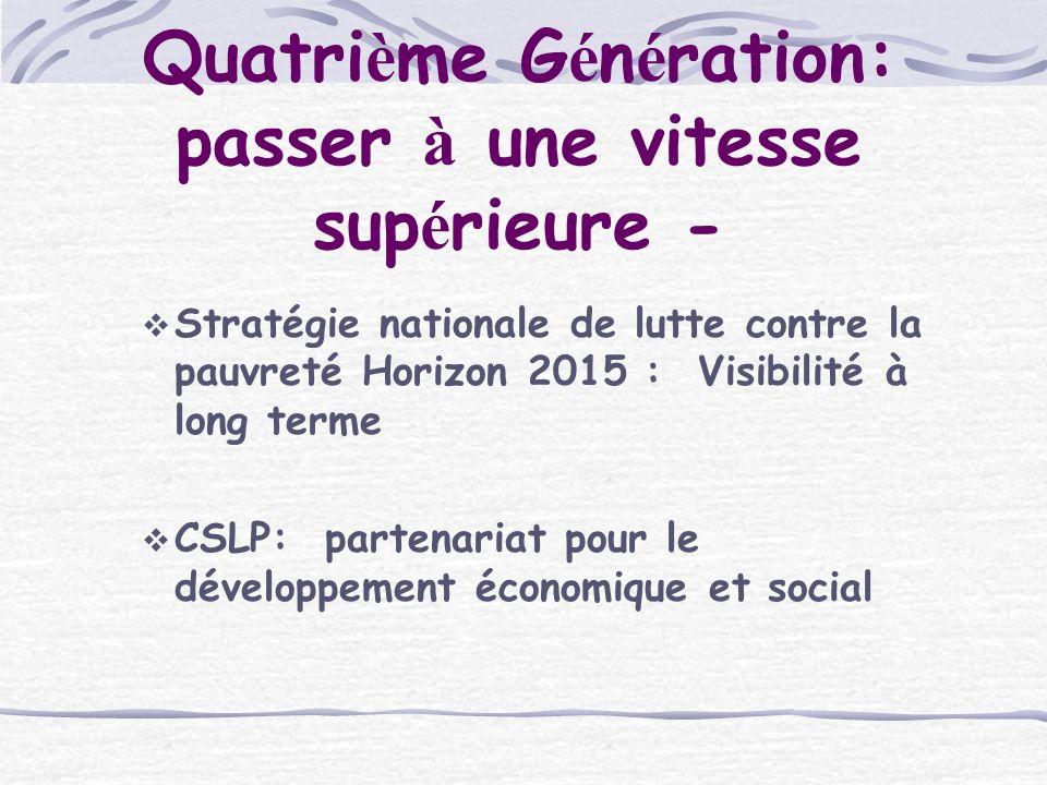 Quatri è me G é n é ration: passer à une vitesse sup é rieure - Stratégie nationale de lutte contre la pauvreté Horizon 2015 : Visibilité à long terme CSLP: partenariat pour le développement économique et social