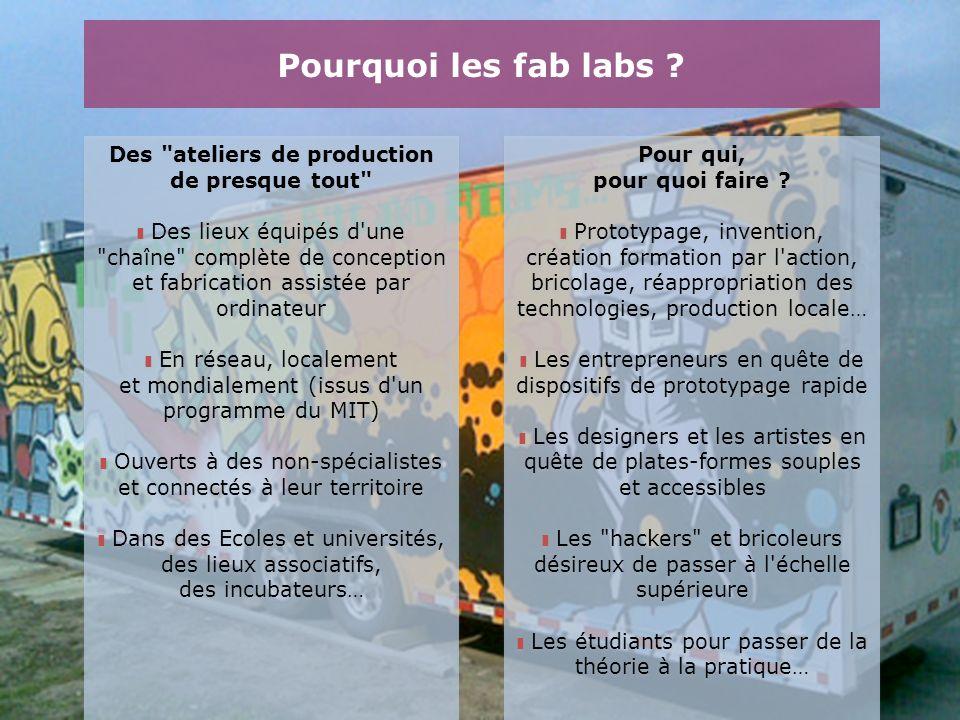 Pourquoi les fab labs ? Pour qui, pour quoi faire ? Prototypage, invention, création formation par l'action, bricolage, réappropriation des technologi