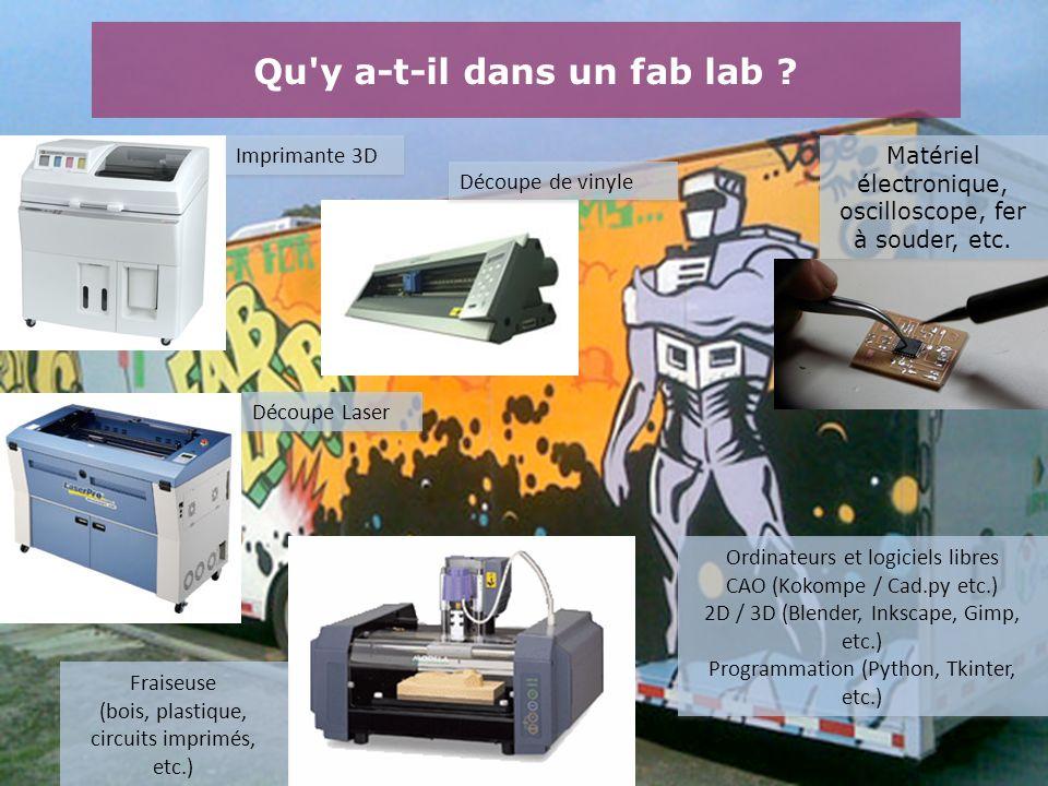 Qu'y a-t-il dans un fab lab ? Matériel électronique, oscilloscope, fer à souder, etc. Imprimante 3D Découpe Laser Fraiseuse (bois, plastique, circuits
