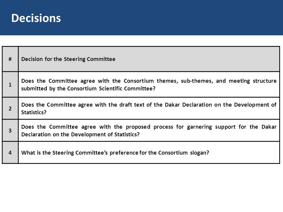 Decisions #Decision for the Steering Committee 1 Does the Committee agree with the Consortium themes, sub-themes, and meeting structure submitted by t