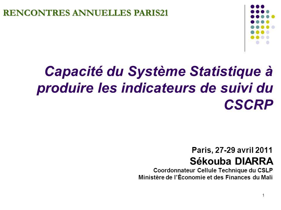 1 RENCONTRES ANNUELLES PARIS21 Capacité du Système Statistique à produire les indicateurs de suivi du CSCRP Paris, 27-29 avril 2011 Sékouba DIARRA Coordonnateur Cellule Technique du CSLP Ministère de lÉconomie et des Finances du Mali