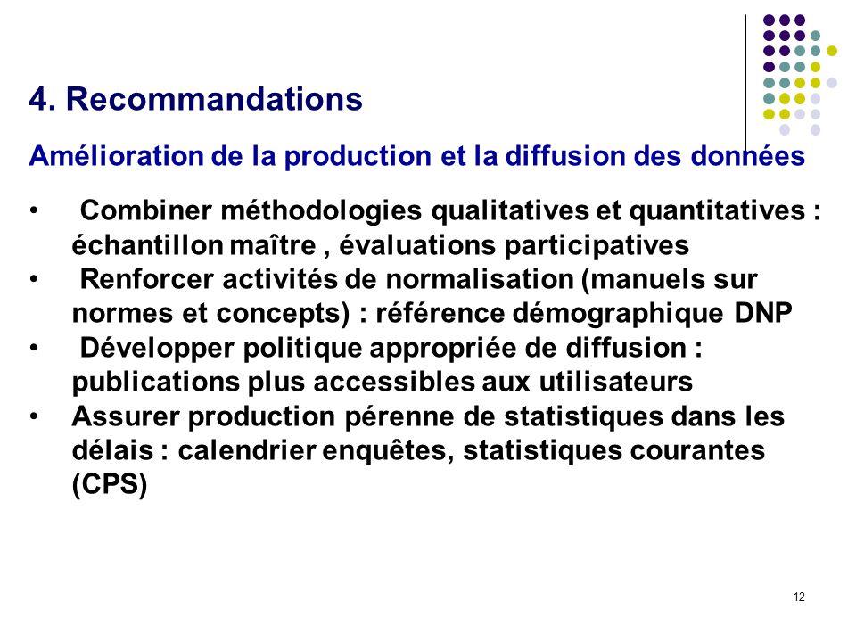 12 4. Recommandations Amélioration de la production et la diffusion des données Combiner méthodologies qualitatives et quantitatives : échantillon maî