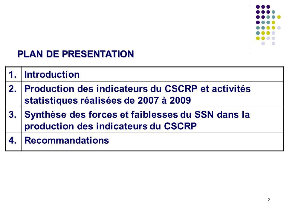 2 PLAN DE PRESENTATION 1.Introduction 2.Production des indicateurs du CSCRP et activités statistiques réalisées de 2007 à 2009 3.Synthèse des forces et faiblesses du SSN dans la production des indicateurs du CSCRP 4.Recommandations
