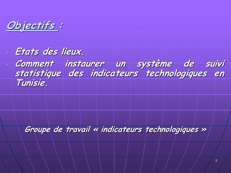 2 Objectifs : - Etats des lieux. - Comment instaurer un système de suivi statistique des indicateurs technologiques en Tunisie. Groupe de travail « in