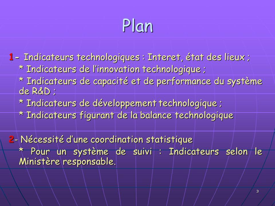 3 Plan 1- Indicateurs technologiques : Interet, état des lieux ; * Indicateurs de linnovation technologique ; * Indicateurs de capacité et de performa