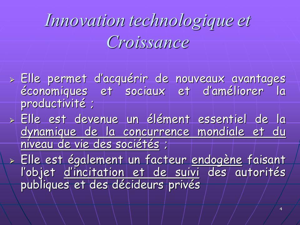 4 Innovation technologique et Croissance Elle permet dacquérir de nouveaux avantages économiques et sociaux et daméliorer la productivité ; Elle perme