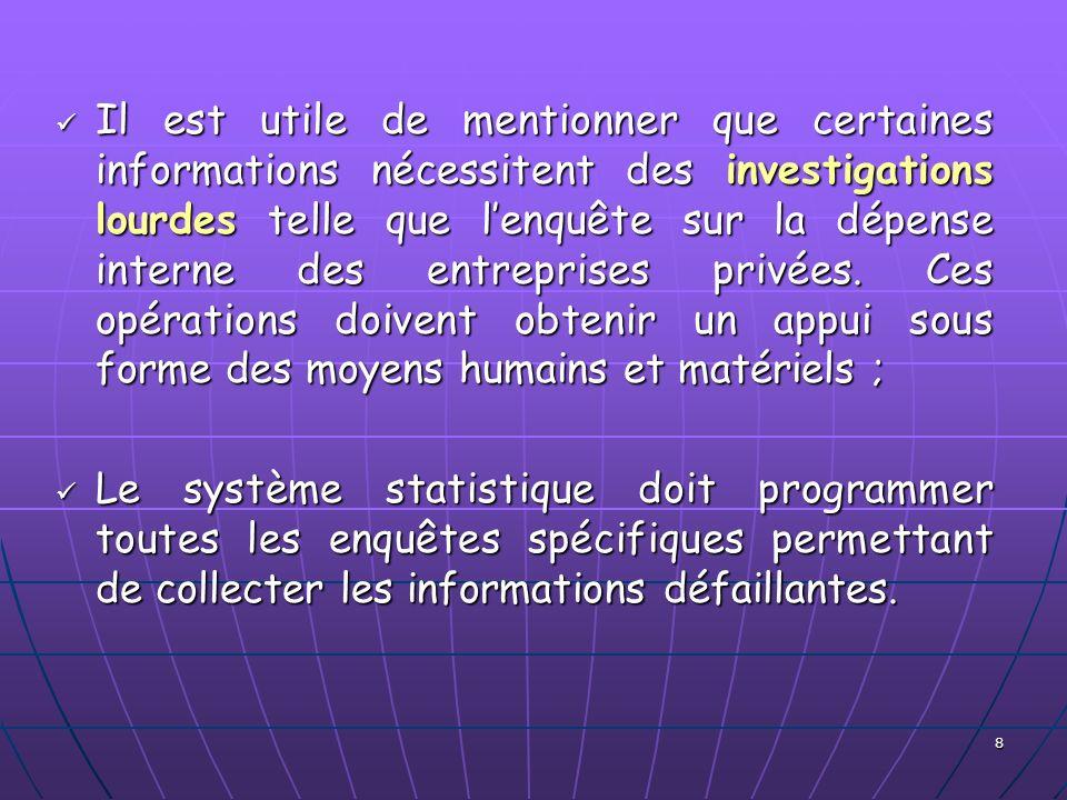 8 Il est utile de mentionner que certaines informations nécessitent des investigations lourdes telle que lenquête sur la dépense interne des entrepris