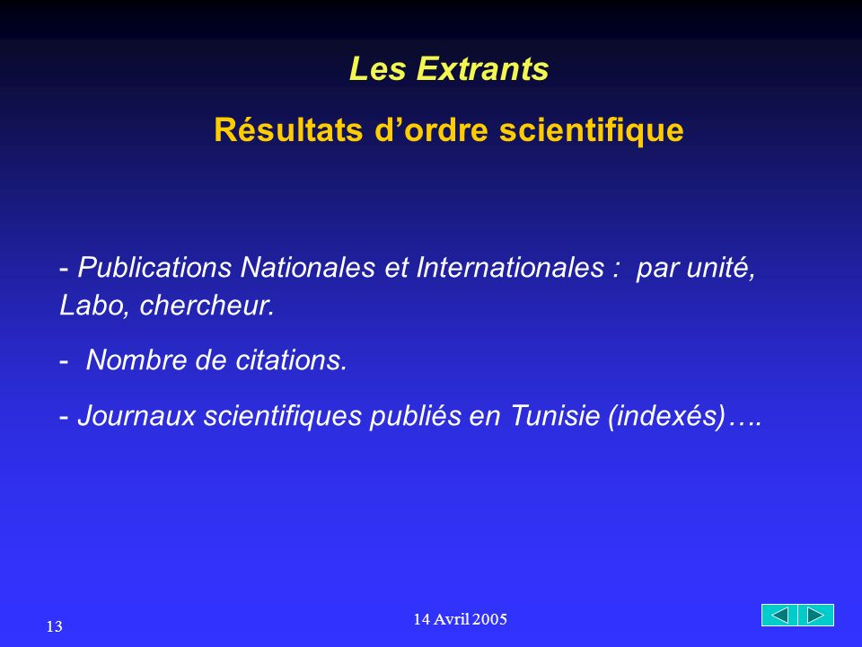 14 Avril 2005 13 Les Extrants Résultats dordre scientifique - Publications Nationales et Internationales : par unité, Labo, chercheur.