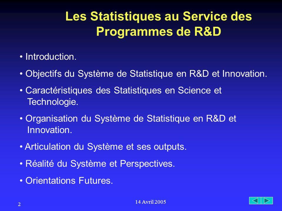 14 Avril 2005 2 Les Statistiques au Service des Programmes de R&D Introduction.