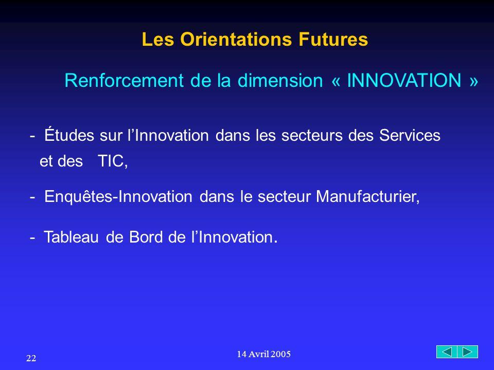 14 Avril 2005 22 Les Orientations Futures Renforcement de la dimension « INNOVATION » - Études sur lInnovation dans les secteurs des Services et des TIC, - Enquêtes-Innovation dans le secteur Manufacturier, - Tableau de Bord de lInnovation.