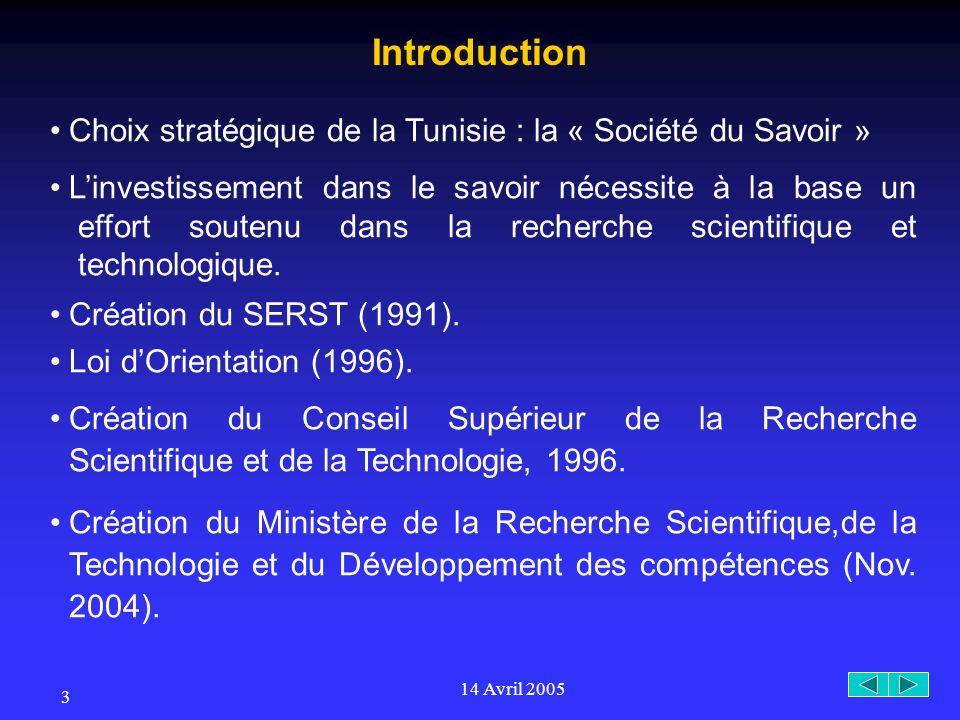 14 Avril 2005 3 Choix stratégique de la Tunisie : la « Société du Savoir » Linvestissement dans le savoir nécessite à la base un effort soutenu dans la recherche scientifique et technologique.