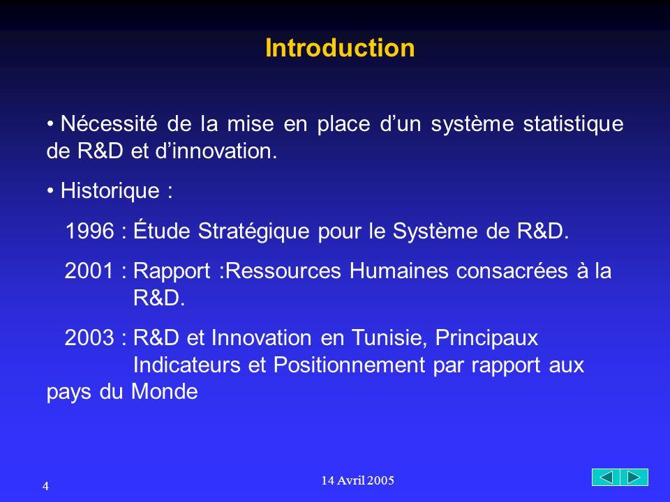 14 Avril 2005 4 Nécessité de la mise en place dun système statistique de R&D et dinnovation.