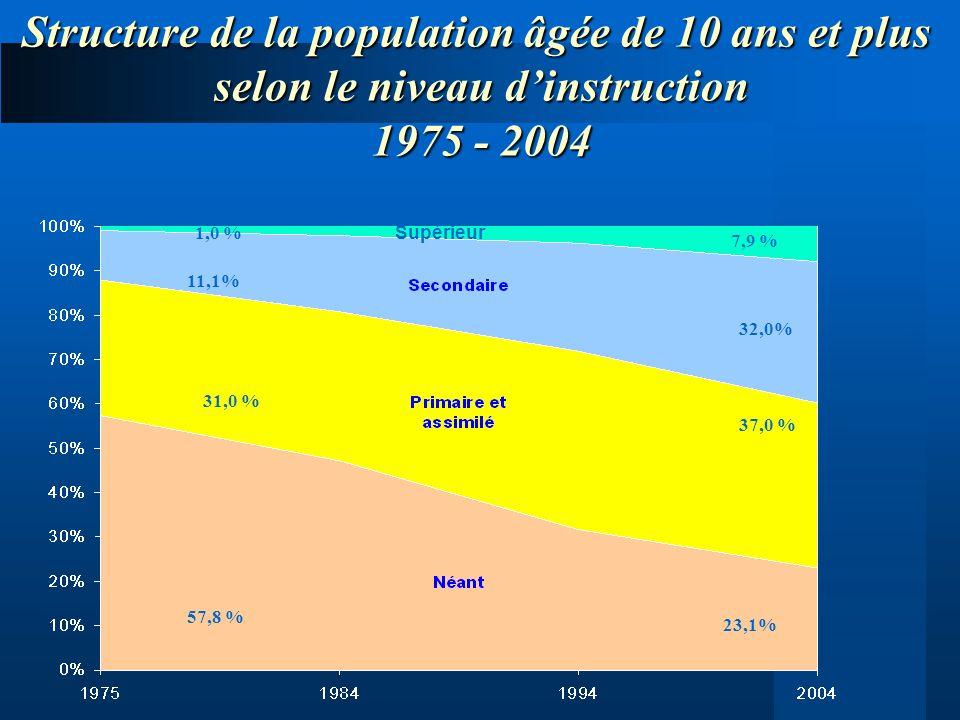 Structure de la population âgée de 10 ans et plus selon le niveau dinstruction 1975 - 2004 1,0 % 11,1% 31,0 % 57,8 % 7,9 % 32,0% 37,0 % 23,1% Supérieu