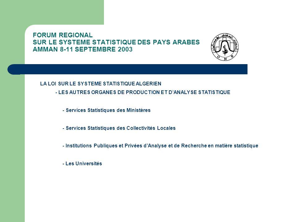 FORUM REGIONAL SUR LE SYSTEME STATISTIQUE DES PAYS ARABES AMMAN 8-11 SEPTEMBRE 2003 LA LOI SUR LE SYSTEME STATISTIQUE ALGERIEN - LES AUTRES ORGANES DE