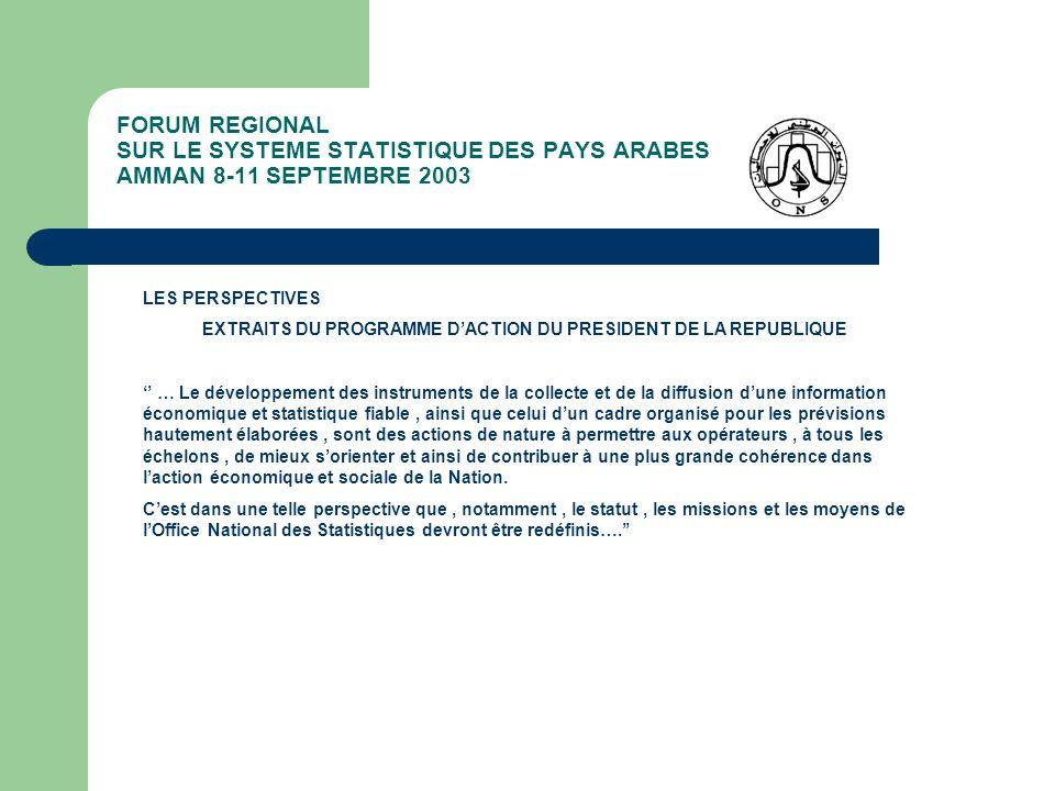 FORUM REGIONAL SUR LE SYSTEME STATISTIQUE DES PAYS ARABES AMMAN 8-11 SEPTEMBRE 2003 LES PERSPECTIVES EXTRAITS DU PROGRAMME DACTION DU PRESIDENT DE LA