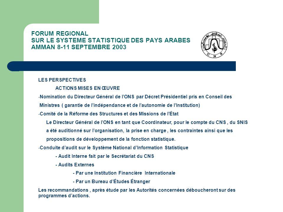 FORUM REGIONAL SUR LE SYSTEME STATISTIQUE DES PAYS ARABES AMMAN 8-11 SEPTEMBRE 2003 LES PERSPECTIVES ACTIONS MISES EN ŒUVRE -Nomination du Directeur G