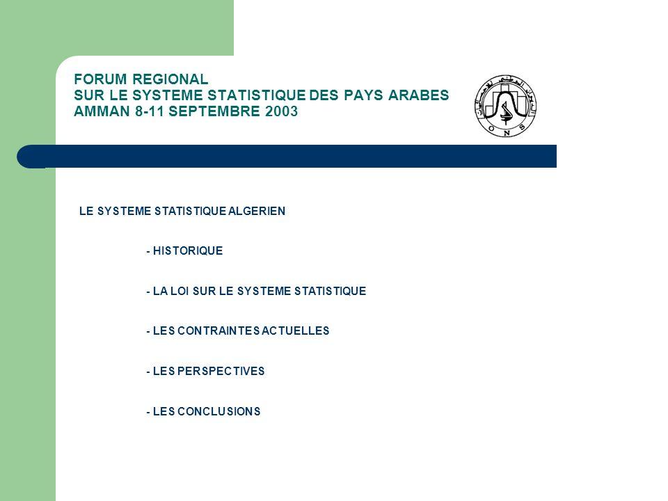 FORUM REGIONAL SUR LE SYSTEME STATISTIQUE DES PAYS ARABES AMMAN 8-11 SEPTEMBRE 2003 LA LOI SUR LE SYSTEME STATISTIQUE ALGERIEN - LES INSTRUMENTS ET PROCEDURES NORMALISES - L ENREGISTREMENT STATISTIQUE - Reconnaissance par lÉtat du caractère dintérêt public des enquêtes études et travaux statistiques - Reconnaissance par lONS du respect des méthodologies - Entraîne obligation de réponse - Opportunité de lEnregistrement Statistique revient au CNS - LEnregistrement Statistique est géré par lONS