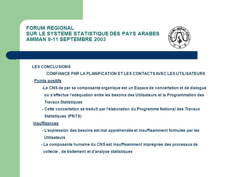 FORUM REGIONAL SUR LE SYSTEME STATISTIQUE DES PAYS ARABES AMMAN 8-11 SEPTEMBRE 2003 LES CONCLUSIONS CONFIANCE PAR LA PLANIFICATION ET LES CONTACTS AVE