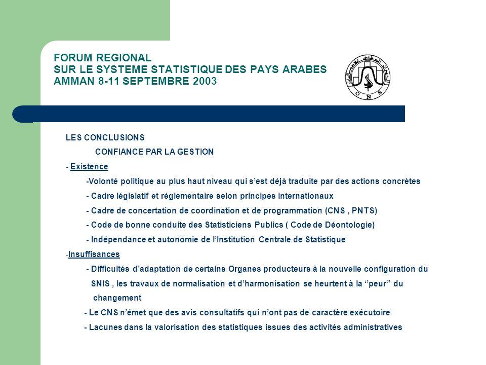 FORUM REGIONAL SUR LE SYSTEME STATISTIQUE DES PAYS ARABES AMMAN 8-11 SEPTEMBRE 2003 LES CONCLUSIONS CONFIANCE PAR LA GESTION - Existence -Volonté poli