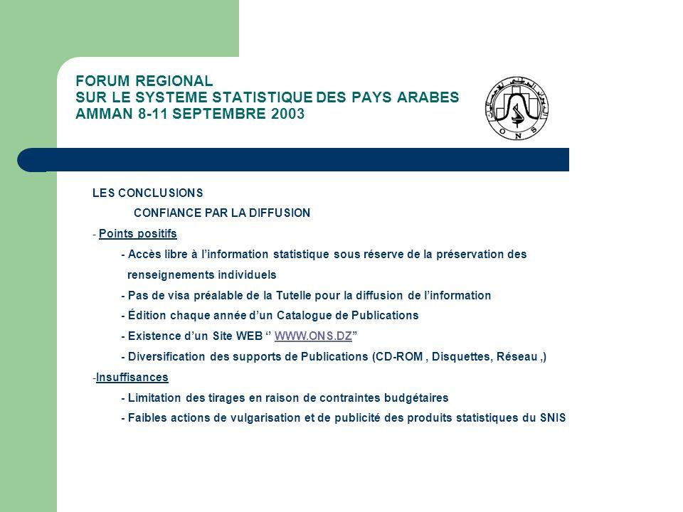 FORUM REGIONAL SUR LE SYSTEME STATISTIQUE DES PAYS ARABES AMMAN 8-11 SEPTEMBRE 2003 LES CONCLUSIONS CONFIANCE PAR LA DIFFUSION - Points positifs - Acc
